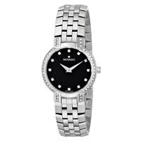 "Movado Women's 605586 ""Faceto"" Stainless Steel Watch with Diamond 0605586"