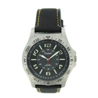 STAUER Mens Watch TAC-7 24569 Stainless Steel Case Black Band New Battery Works WW03674N